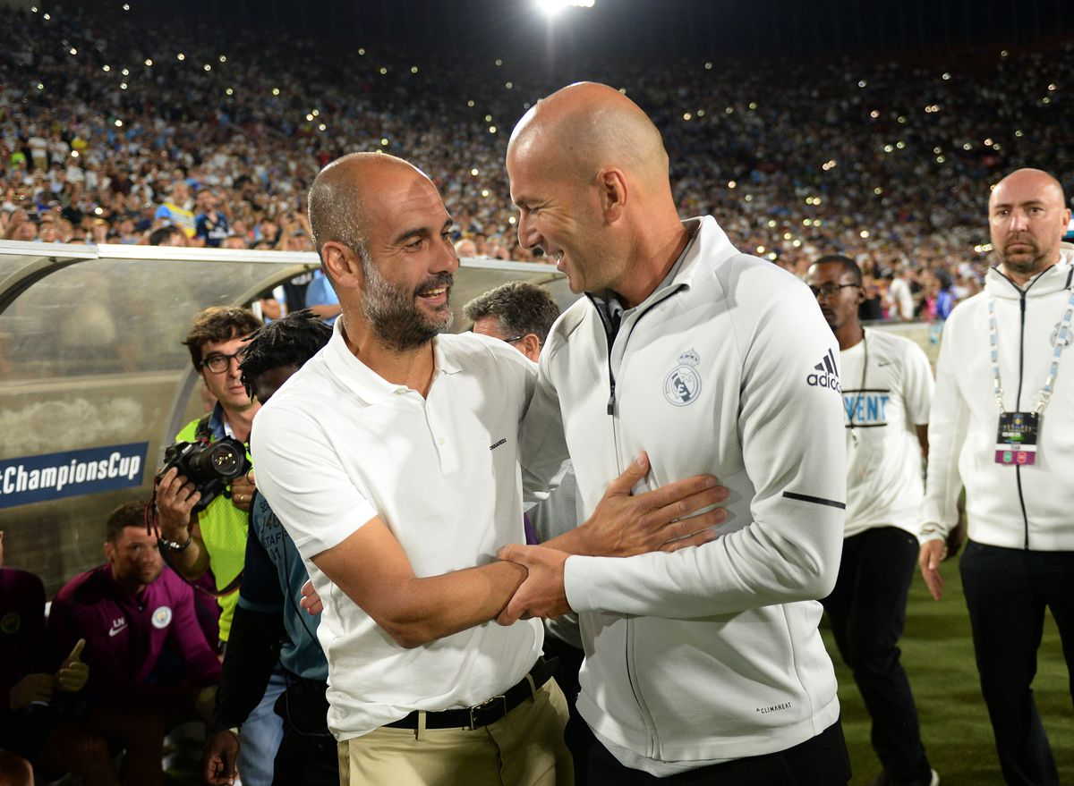 Pep Guardiola and Zinedine Zidane - Manchester City v Real Madrid - UEFA Champions League