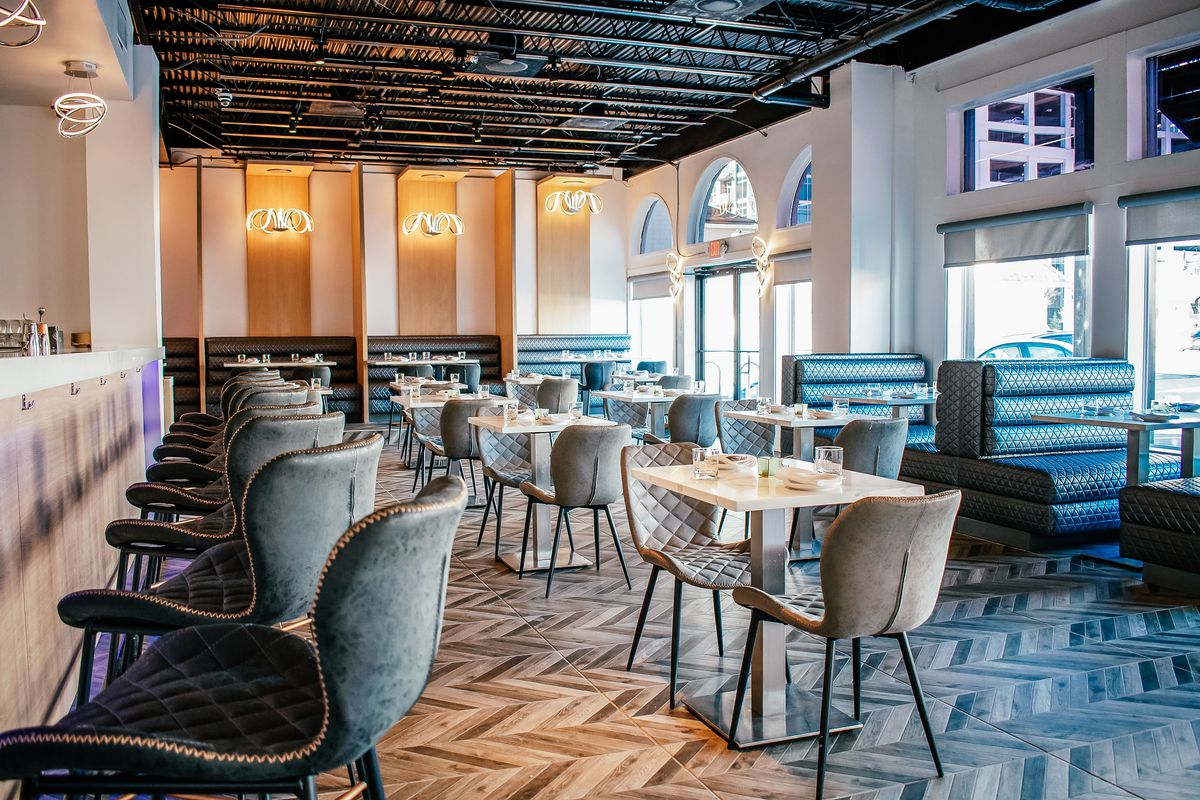 The interior of the dining room and bar at Lily White restaurant in buckhead