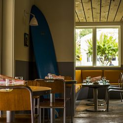 The Oyster Bar features casual, surf-like decor.