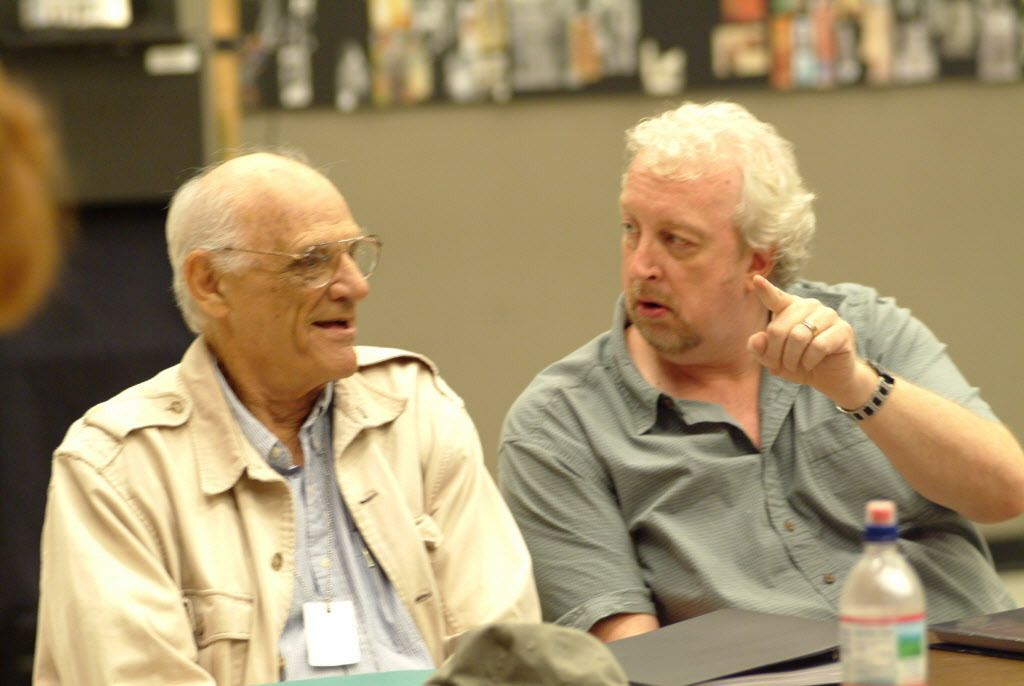 """Playwright Arthur Miller (left) and Goodman Theatre artistic director Robert Falls rehearse the world premiere of Miller's """"Finishing the Picture"""" in 2004. 