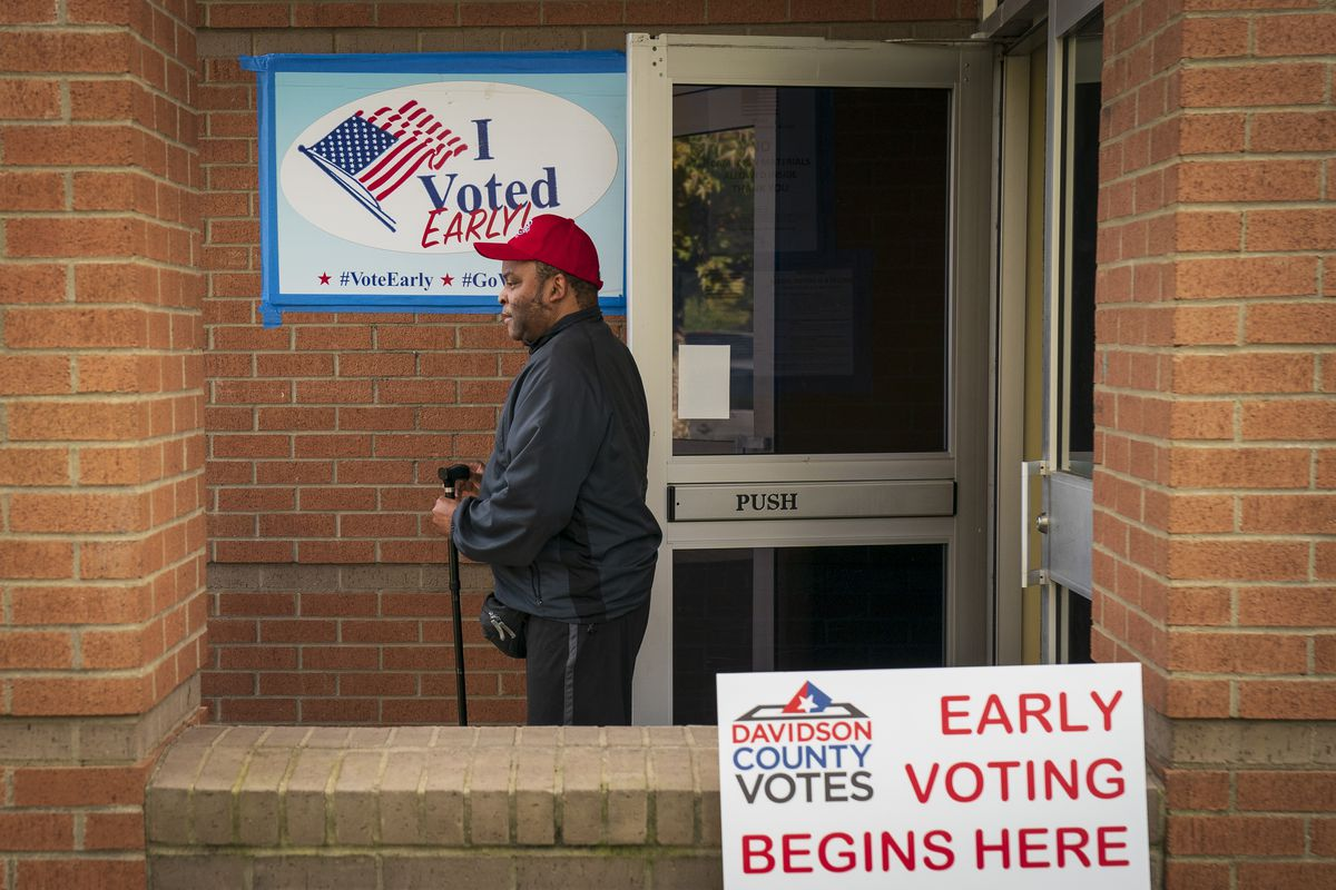 A voter exits a polling place during early voting in Tennessee in October 2018.