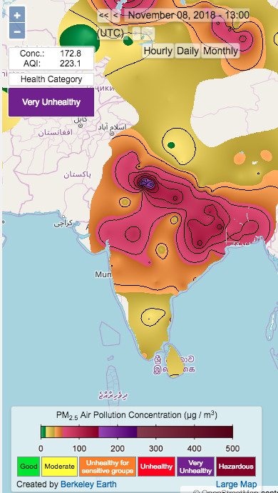 Air pollution spikes in India during the winter months.