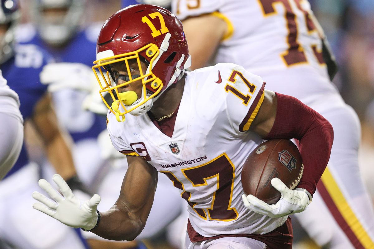 Terry McLaurin #17 of the Washington Football Team rushes during the third quarter against the New York Giants at FedExField on September 16, 2021 in Landover, Maryland.