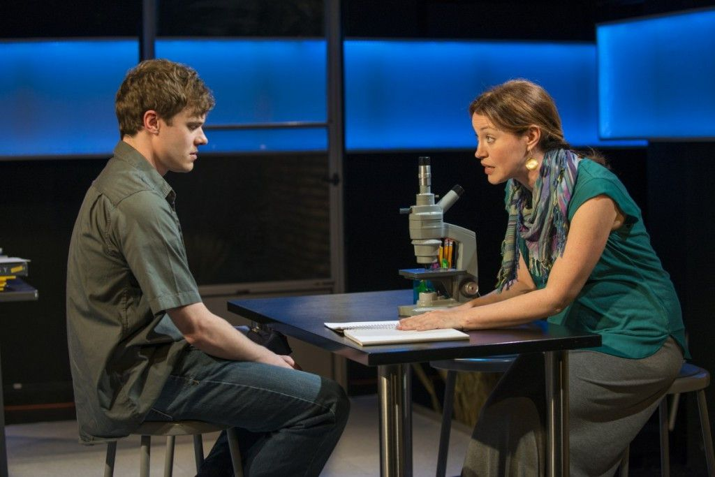 """Curtis Edward Jackson and Rebecca Spence inCatherine Trieschmann's play, """"How the World Began"""" a Rivendell Theatre Ensemble production. (Photo: Michael Brosilow)"""