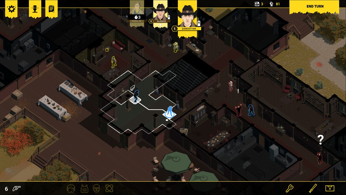A sceenshot from Rebel Cops showing a character moving toward a stairwell in the center of the screen while on the right another character makes an arrest.