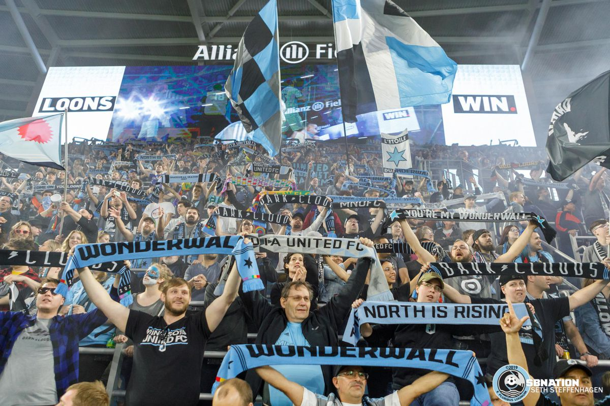 May 25, 2019 - Saint Paul, Minnesota, United States - Supporters celebrate the Loon's 1-0 victory over Houston Dynamo at Allianz Field.   (Photo by Seth Steffenhagen/Steffenhagen Photography)