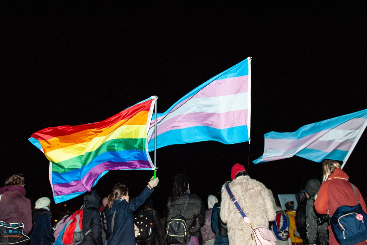 Demonstrators wave a rainbow flag and two trans rights flags.