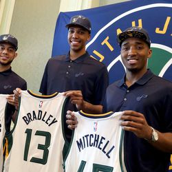 The three players selected by the Utah Jazz in last Thursday's NBA draft were introduced to the media at the Grand America Hotel in Salt Lake City on Wednesday, June 28, 2017. Gonzaga guard Nigel Williams-Goss, left, North Carolina's Tony Bradley, and Louisville guard Donovan Mitchell pose for a photograph.