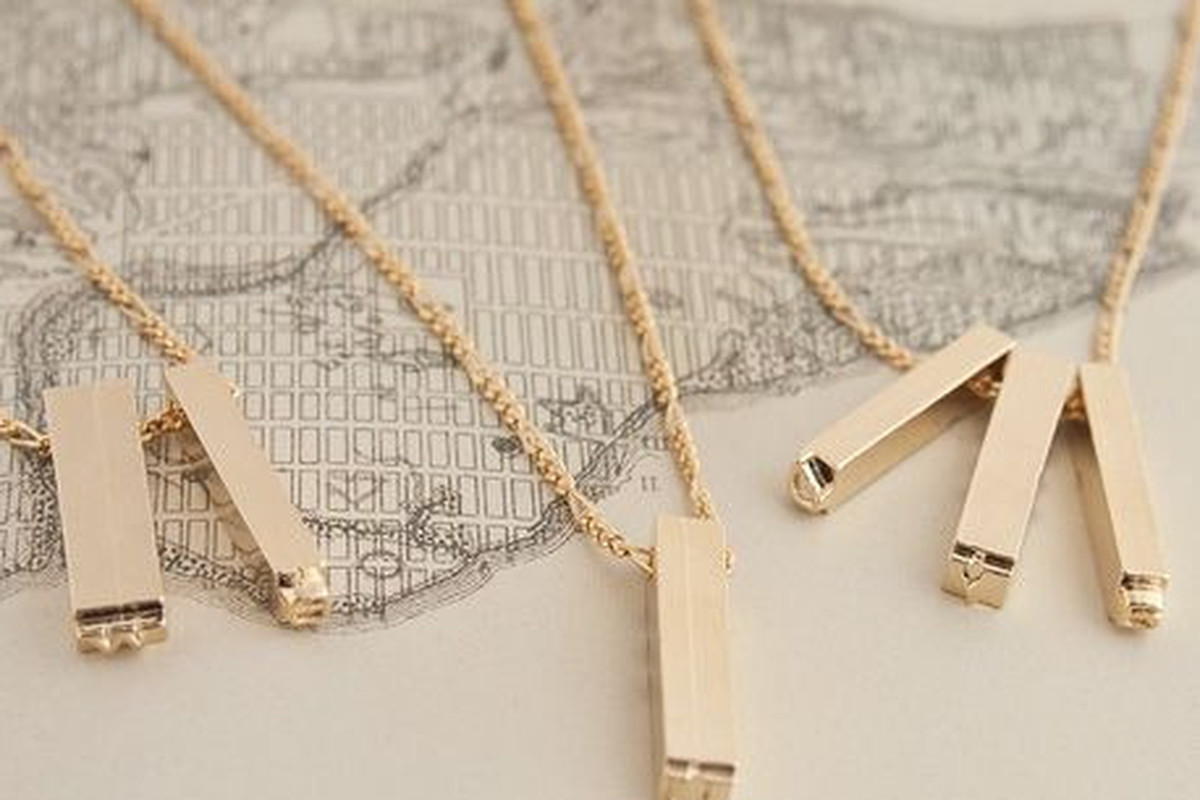 """<a href=""""http://ericaweiner.com/collections/necklaces-view-all/products/double-letterpress-necklace-gold-plate#.UlRzh-y83hM"""">Letterpress necklace, </a><a href=""""http://ericaweiner.com/collections/necklaces-view-all/products/double-letterpress-necklac"""