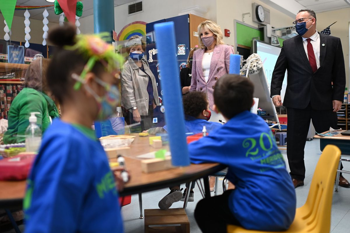 US First Lady Jill Biden and Education Secretary Miguel Cardona tour Benjamin Franklin Elementary School in Meriden, Connecticut, on March 3, 2021.