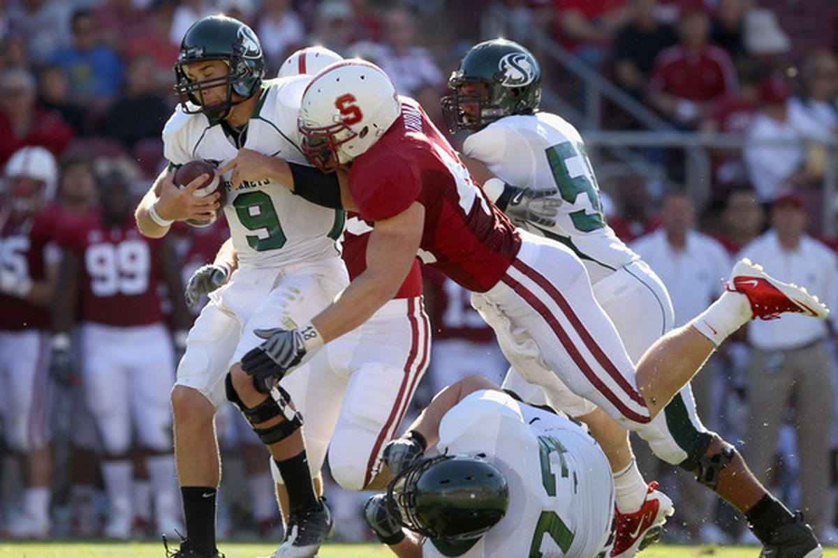 Linebacker Chase Thomas will help anchor the Stanford defense.