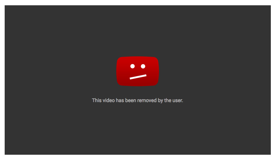 YouTube video removed by user