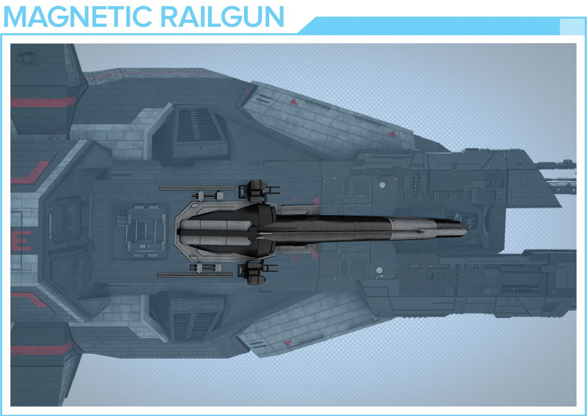 The rail gun on the Rocinante will be removable, featuring a magnetic interface.