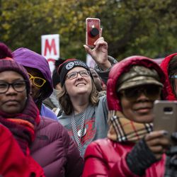 Striking Chicago Teachers Union and SEIU Local 73 members listen to presidential candidate U.S. Sen. Elizabeth Warren's (D-MA) speech during a rally on the picket line outside Oscar DePriest Elementary School on the West Side, Tuesday morning, Oct. 22, 2019.