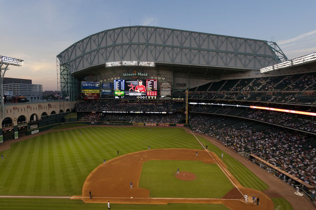 HOUSTON - APRIL 12:  A general view of Minute Maid Park from the third base side on April 12, 2011 in Houston, Texas.  (Photo by Bob Levey/Getty Images)