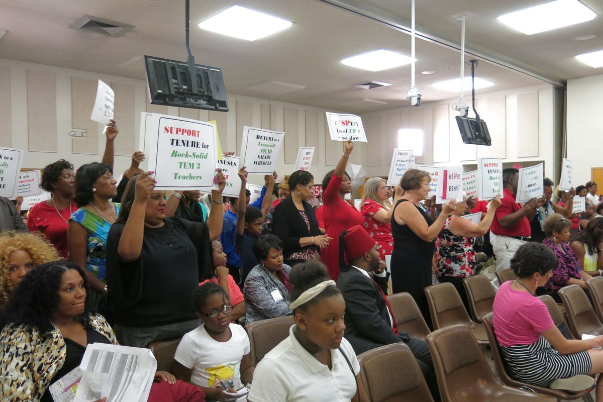 Several Shelby County School teachers attended the board meeting Tuesday  evening to protest pay, displaced tenured teachers and the revised teacher evaluation model.  (August 26, 2014)
