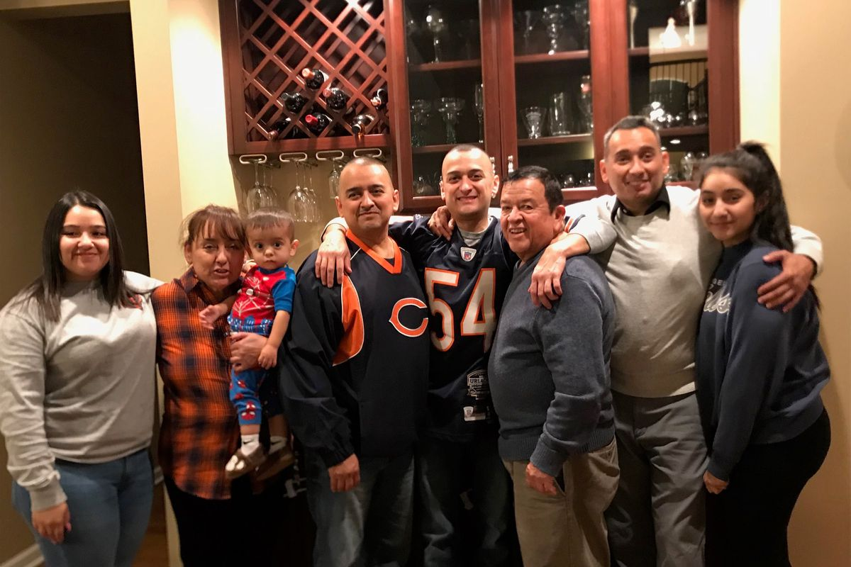 Raul Montes (third from right) with his family (from left): granddaughter Crystal; wife Maria; grandson Rocco; sons Miguel, Jose and Raúl Jr.; granddaughter Emily.