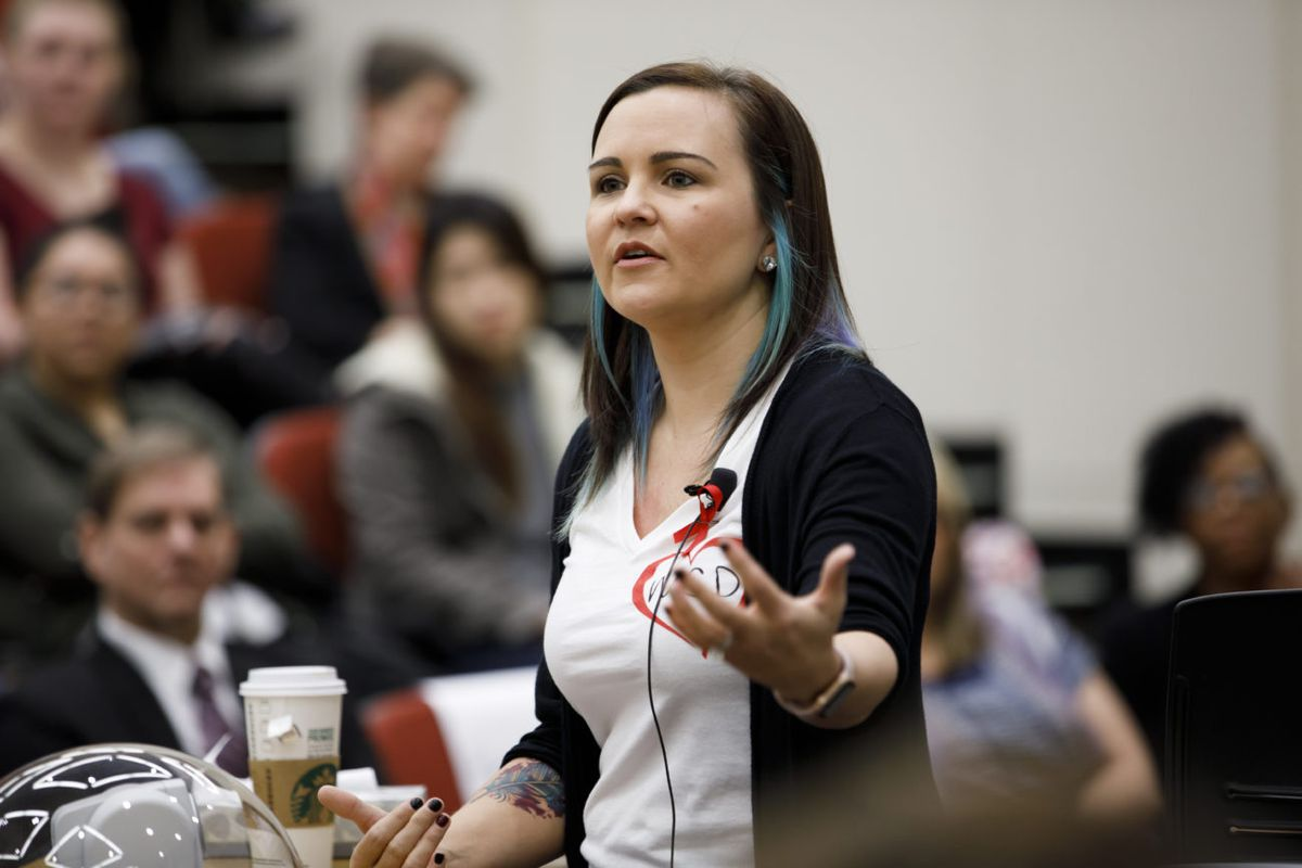 Indiana University alumna Katherine Posada, an English teacher at Marjory Stoneman Douglas High School, speaks to IU School of Education students on Friday, Feb. 23, 2018. Posada survived a mass shooting at the Parkland, Florida school where 17 students and teachers were killed by a former student.