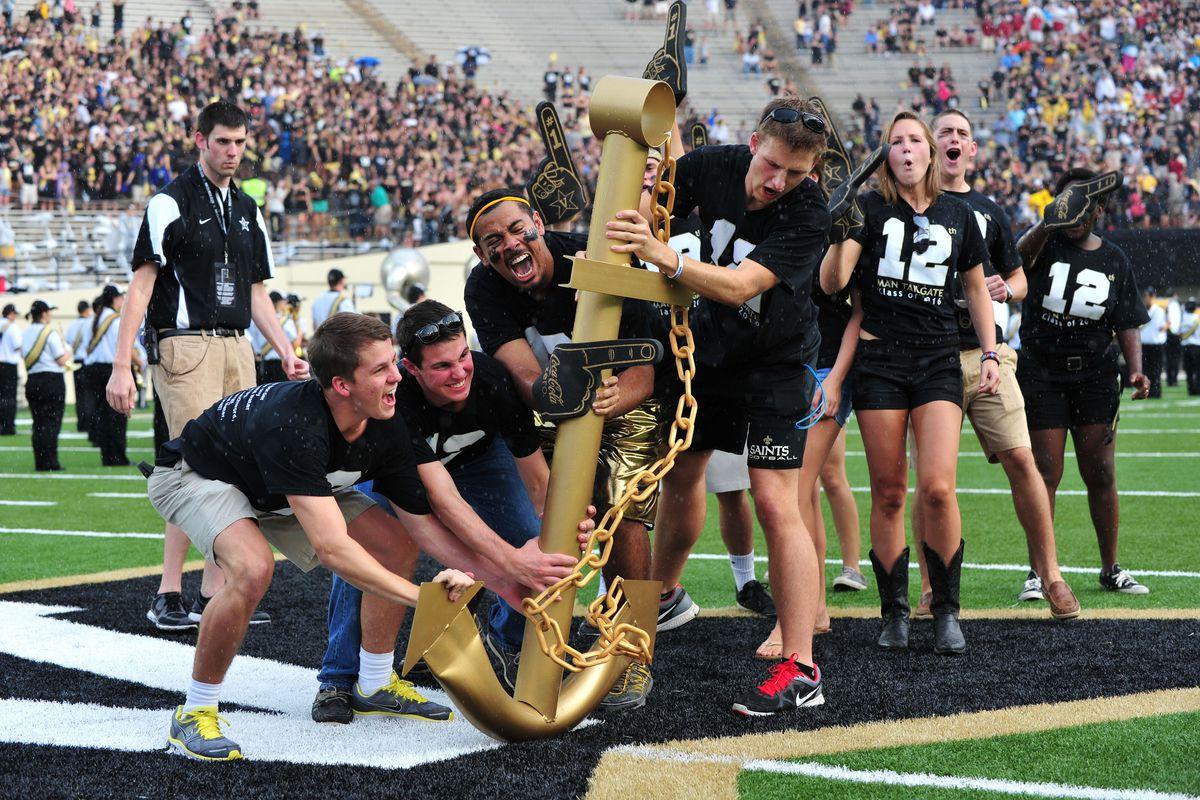 Aug 30, 2012; Nashville, TN, USA; Vanderbilt University students plant the Vanderbilt Commodores anchor at midfield before a game against the South Carolina Gamecocks at Vanderbilt Stadium. Mandatory credit: Don McPeak-US PRESSWIRE