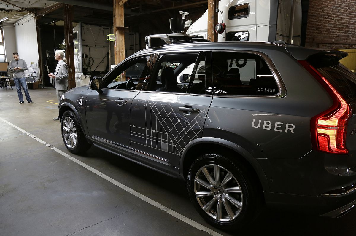 An Uber driverless car displayed in a garage in San Francisco.