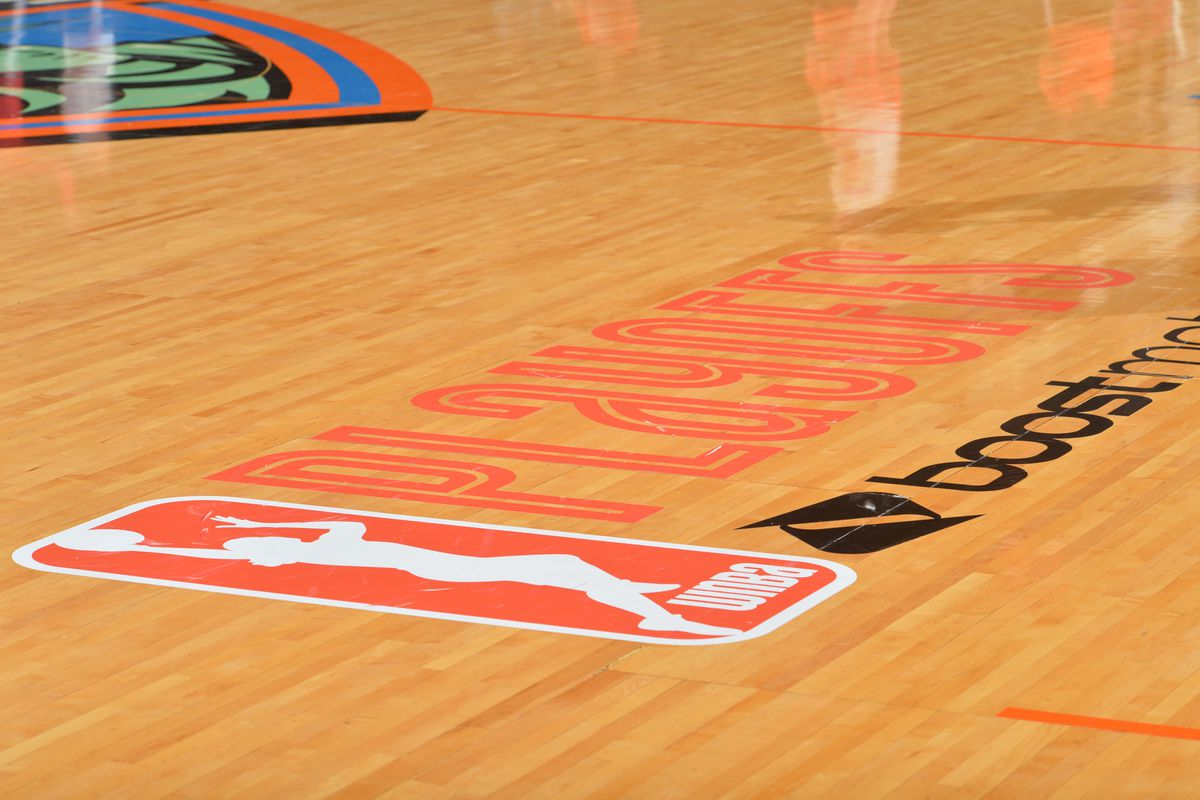 Here is a photograph of the WNBA Playoff logo where the New York Liberty against the Washington Mystics during game One of the WNBA Semi-Finals at Madison Square Garden on September 22, 2015 in New York, New York.