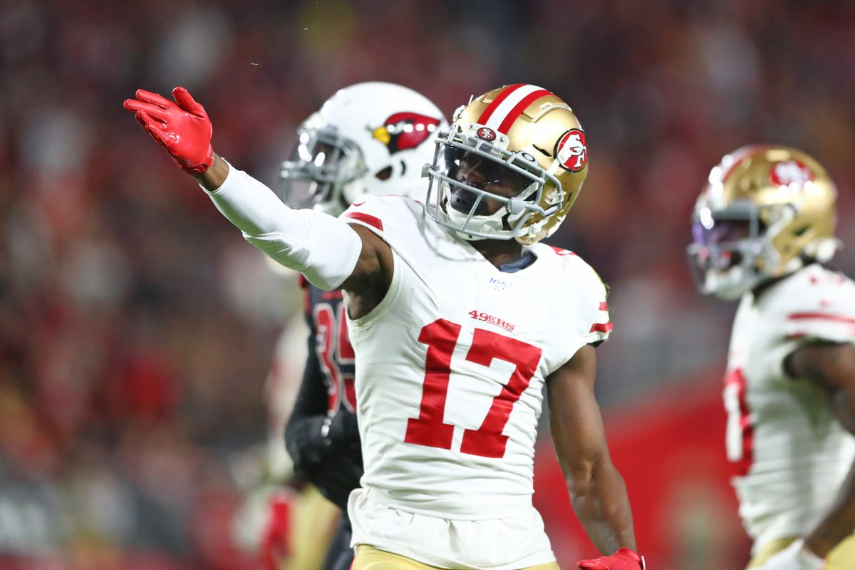 San Francisco 49ers wide receiver Emmanuel Sanders celebrates a first quarter first down against the Arizona Cardinals at State Farm Stadium.