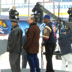 Cubs legends Billy Williams, Ryne Sandberg and Fergie Jenkins (that's brave, Ryno, going hatless!)