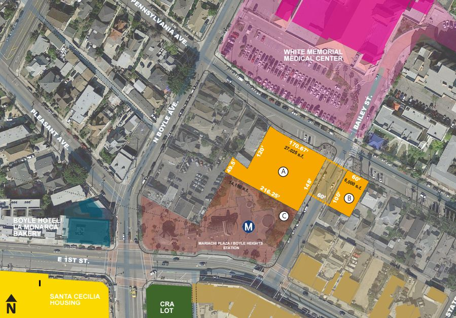 Overhead view of Mariachi Plaza project site