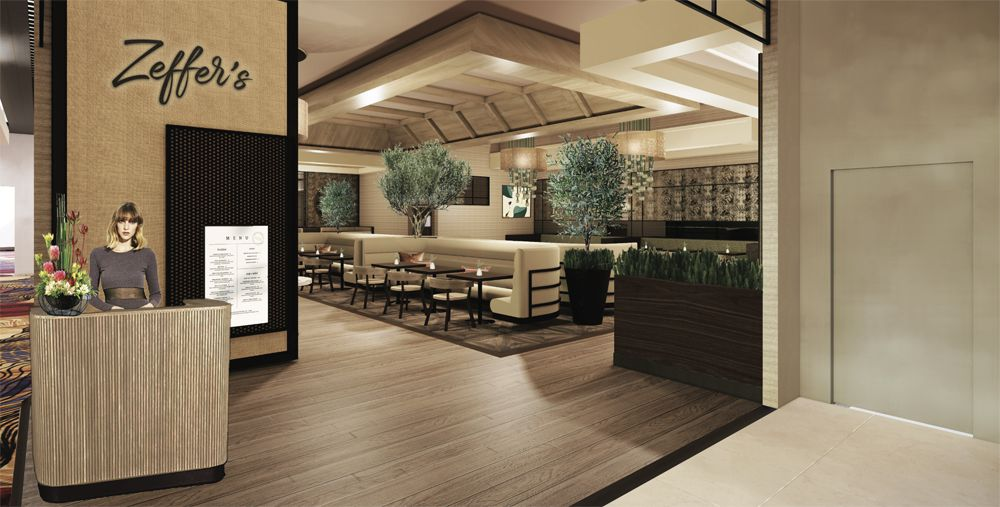 A rendering of the Zeffer's café exterior at the Sahara resort, opening in late July.