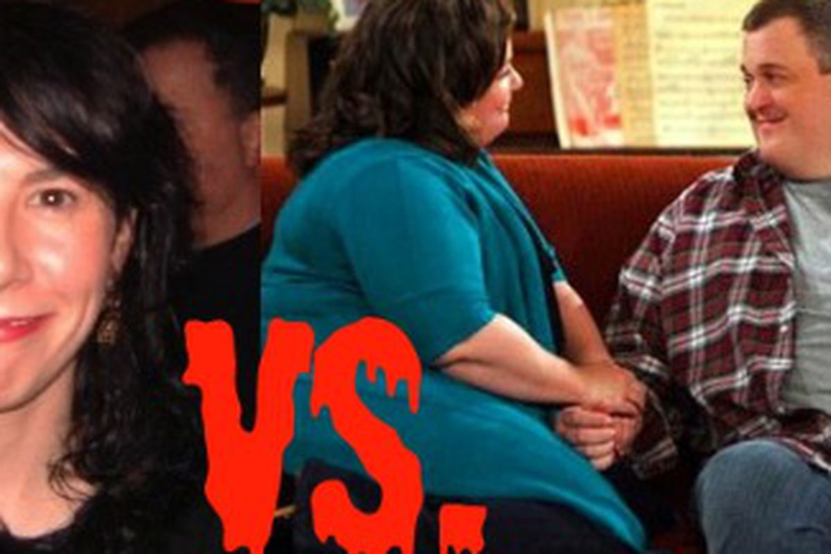 Marie Claire's Maura Kelly, left, is grossed out when she sees larger people (like TV's Mike & Molly, right) walk and kiss. Oh and she's sorry you all got so upset about it.