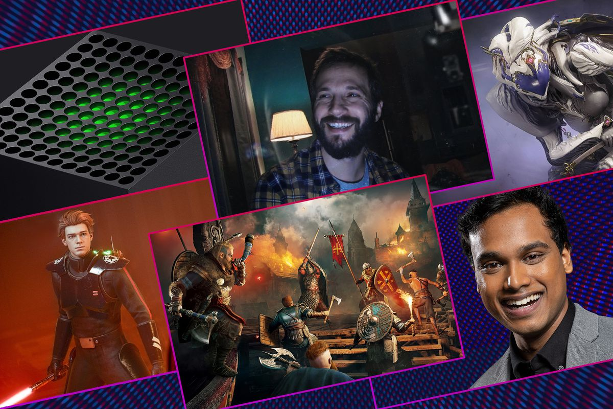Graphic with four images from video games, the top of the next gen Xbox and a smiling portrait of Jimmy Mondal
