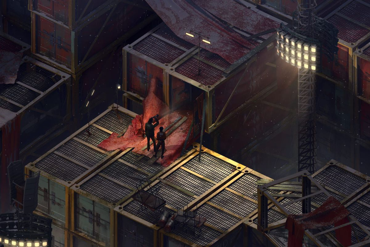 Screenshot from Disco Elysium, showing two men outside a warehouse of packing containers