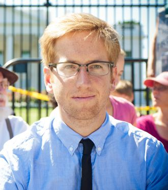 Jamie Henn at a protest in front of the White House in August 2011, before being arrested.