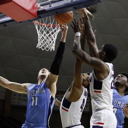 UConn's Jalen Adams (4) and Terry Larrier (22) during the Columbia Lions vs UConn Huskies men's college basketball game at Gampel Pavilion in Storrs, CT on November 29, 2017.