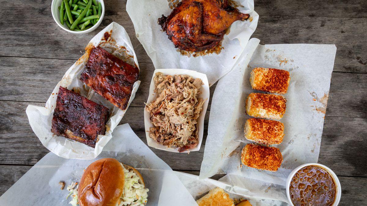 A bbq lunch picnic from Southern Smoke BBQ in Garland, North Carolina