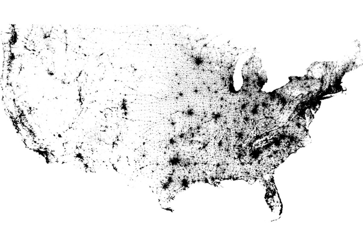 The Census Dotmap contains one black dot for every person in the US on