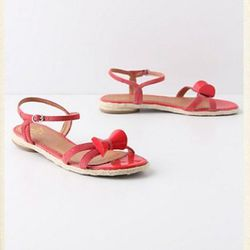 """<a href=""""http://www.anthropologie.com/anthro/product/24079634.jsp?color=066"""">Glossed sandals</a>, $79.95 (were $128)"""