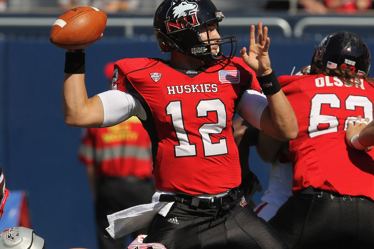 Chandler Harnish (12) had Trevor Olson (62) watching his back every game he started at NIU.