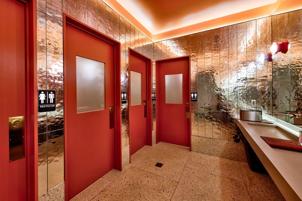 The bathroom at The Slanted Door