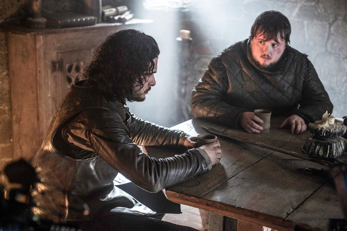 Also, in the books, it's not Sam's idea to leave — Jon sends him away with Maester Aemon.