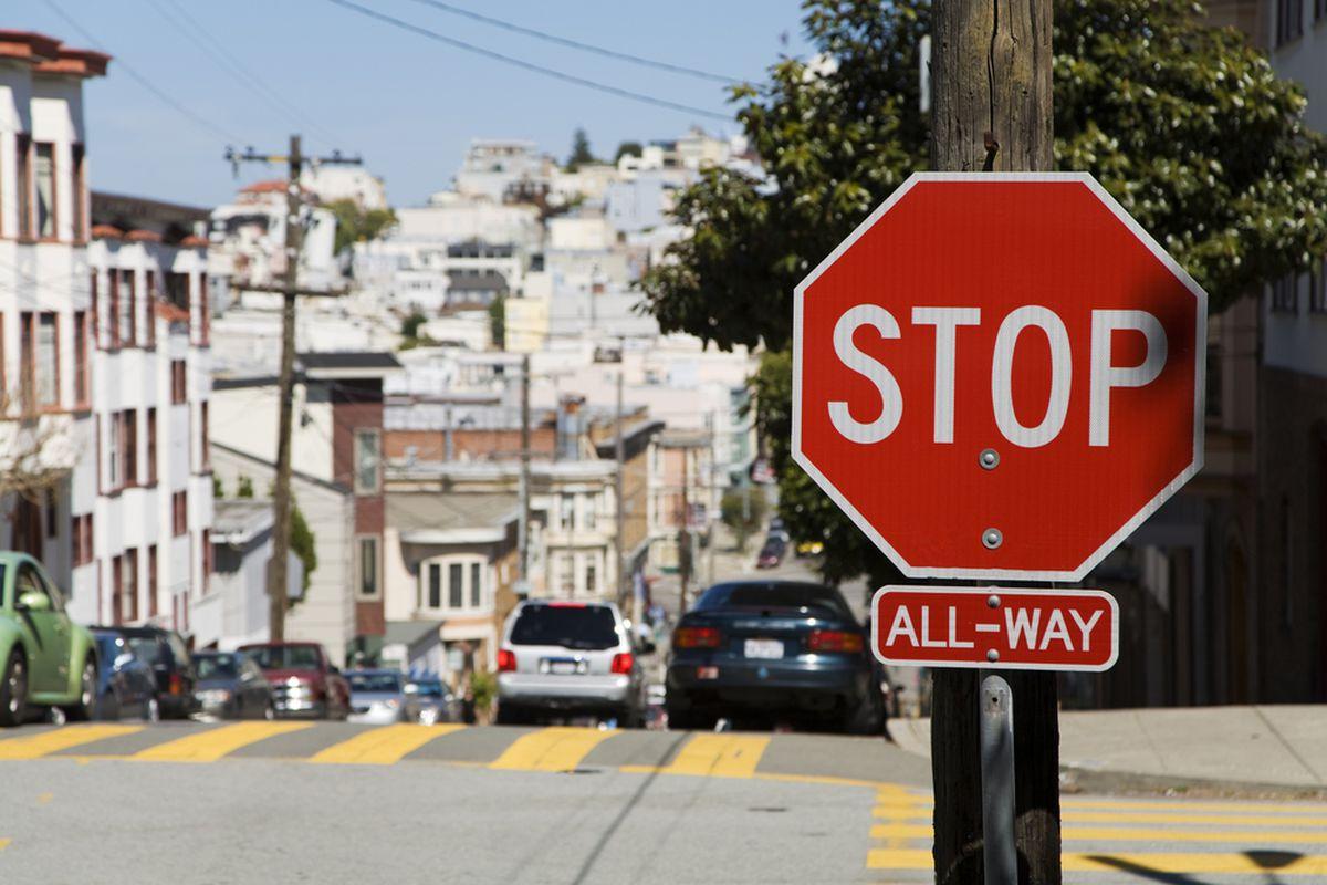 A stop sign at a San Francisco intersection.