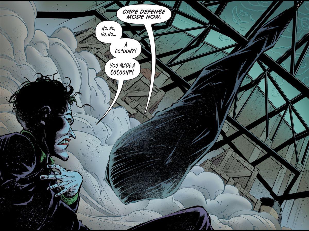 Batman's cap displays its defensive cocoon ability, much to the Joker's chagrin, in Batman Secret Files #2, DC Comics (2019).