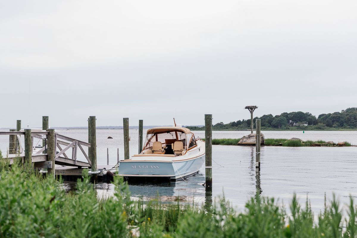 A boat and a pier on Block Island Sound.