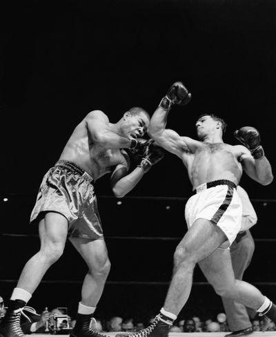 Rocky Marciano Punching Joe Louis