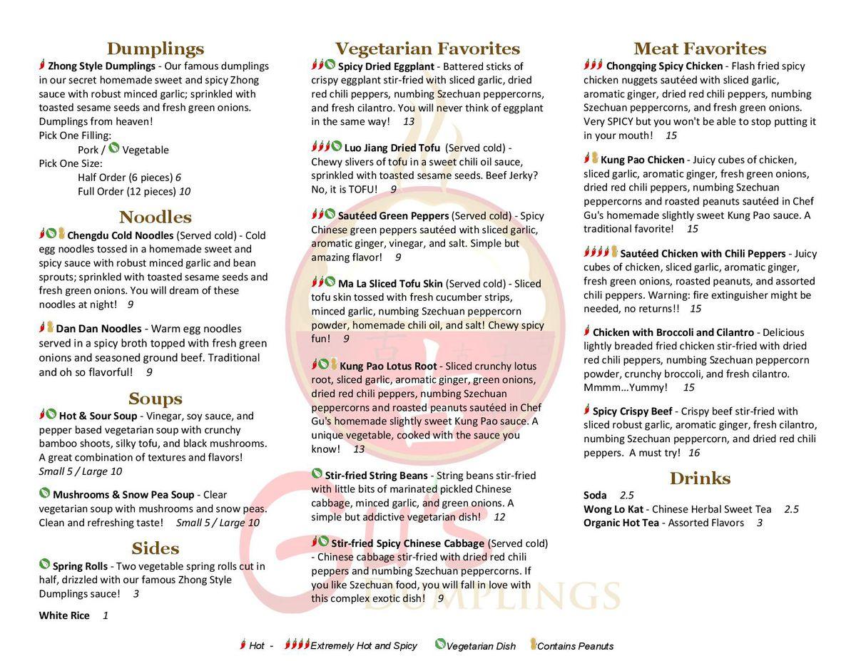 Gu's Dumplings menu 2