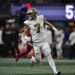 New Orleans Saints quarterback Taysom Hill in action against the Atlanta Falcons Thursday, Dec. 7, 2017, in Atlanta.