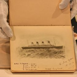 A drawing of the Titanic from an original hand written account of the disaster by Laura Marie Cribb is shown at a press preview at Christie's in New York, Friday June 22, 2007.  Eighteen lots relating to the ill-fated ship R.M.S. Titanic were to be offered at a Christie's sale on June 28, 2007.