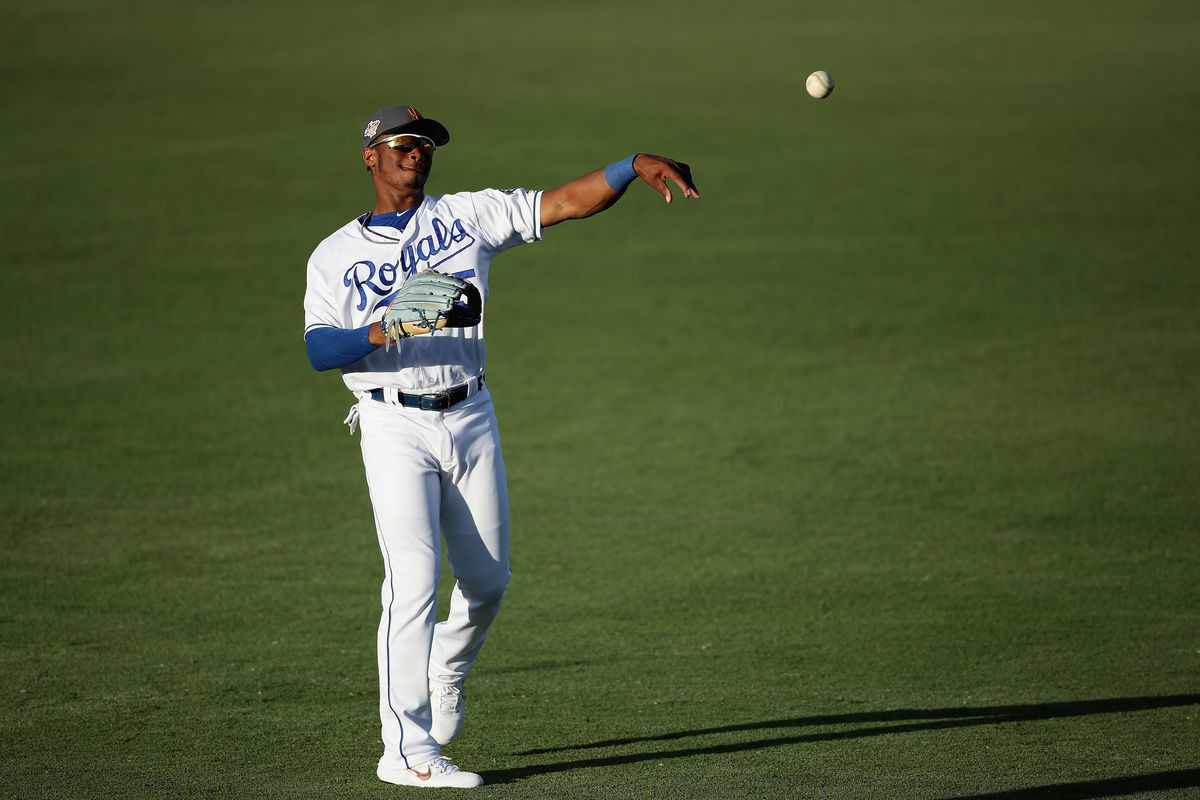 AFL West All-Star, Khalil Lee #15 of the Kansas City Royals warms up before the Arizona Fall League All Star Game at Surprise Stadium on November 3, 2018 in Surprise, Arizona.