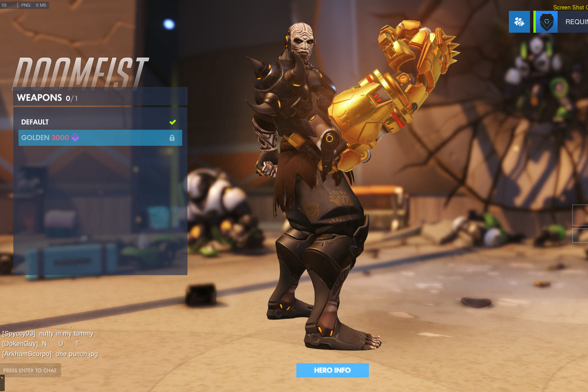 Doomfist's Painted skin and golden weapon make for a good combo.