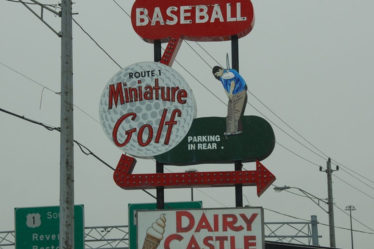 Route 1 Miniature Golf & Batting Cages sign